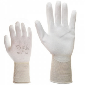 McLean White elastic nylon work gloves, palm covered with  polyurethane, in the plastic bag with hanger, M