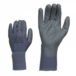 McLean Grey elastic nylon work gloves, palm coated polyurethane, in a plastic bag with hanger, M