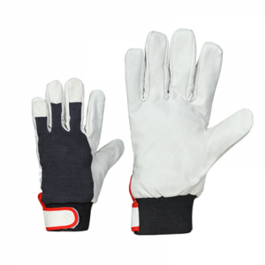 McLean Pig leather/cloth gloves, adjustable wrist, flannel lining M