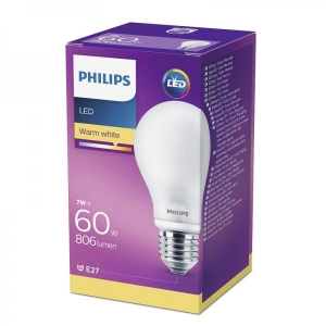Philips LED lamp A60 7W E27 806lm 827 15000h matt klaas
