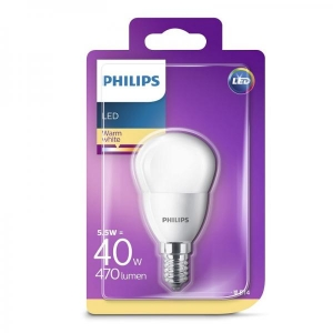 Philips LED lamp P45 5,5W E14 470lm 827 15000h matte glass
