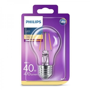 Philips LED lamppu A60 4W E27 470lm 827 15000h filament