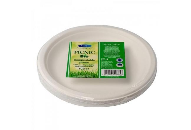 Smile sokeriruoko lautaset 18cm, valkoiset, 10 kpl.