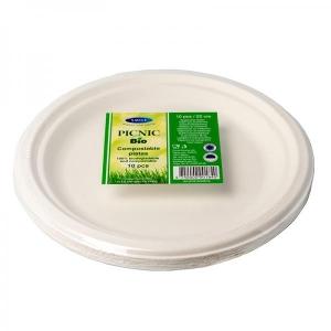 Smile sokeriruoko lautaset 23cm, valkoiset, 10 kpl