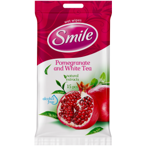Smile wet wipes, pomegranate, 15 pcs