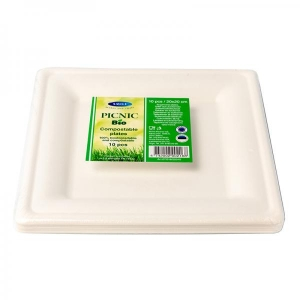 Smile sugarcane plates 20x20cm, white, 10 pc