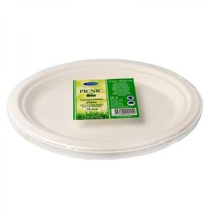 Smile oвальные тарелки из волокна сахарного тростника, белые, 26x20 см, 10 шт
