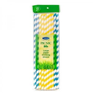 Smile бумажные питьевые соломки Ø 8 мм, 19 шт, синий/желтый