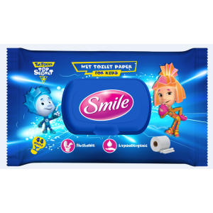 Smile wet toilet paper for kids, 44pcs