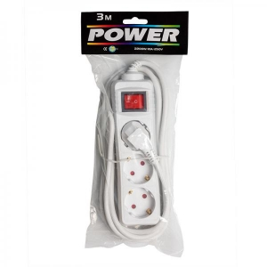 Extension cord 3,0m 3 sockets+switch, white 1,0mm, earthed