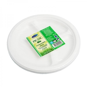Smile sugarcane plates 23 cm, 3-compartments, white, 10 pcs