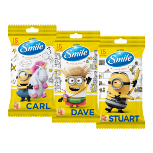 Smile Minions niisked salvrätikud vitamiinidega, 15 tk