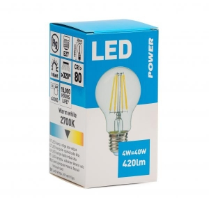 Filament LED bulb GLS 420LM E27, Power