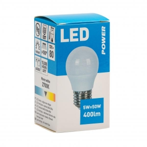 LED lamp dekoratiiv P45 400LM 5W E27, Power