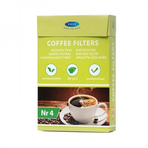 Coffeefilters no. 4, unbleached, 80 pcs in box