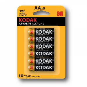 Kodak XTRALIFE alkaline AA patareid, (6tk)