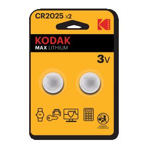 Kodak Max litiumparisto CR2025, 2kpl