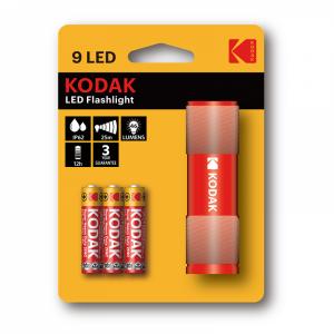 Kodak 9-LED-taskulamppu + 3 AAA, punainen
