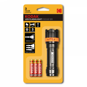 Kodak LED focus 120 flashlight, 750mW+ 3 AAA