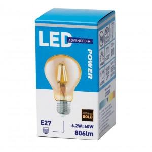 LED лампа A60, E27 806lm, филамент