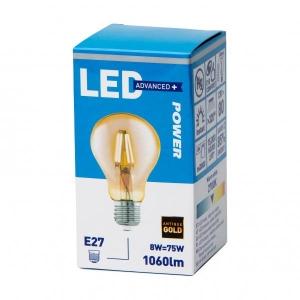 LED lamp GLS filament 8W E27 1060lm, antiik kuld, Power