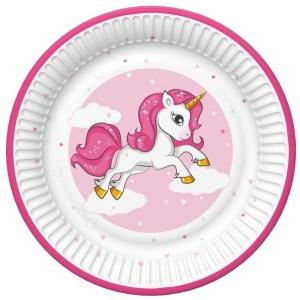 Paper plates 23cm, 8 pcs, Pink unicorn