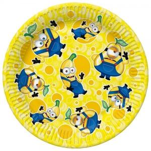 Бумажные тарелки, 23 см, 8 шт, Желтые фрукты