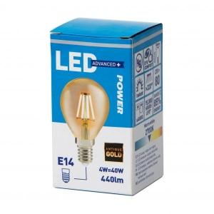 Filament LED bulb golf P45 440LM E14, Power