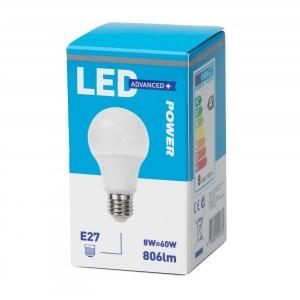 LED lamp GLS 8W E27 806lm 2700K 15000h, Power