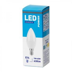 LED лампа B35 свечка, E14 630lm, матовое стекло