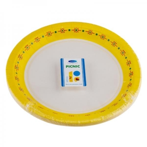 Smile Paper plates 18cm, 12 pcs, Yellow