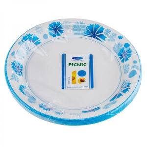 Smile Paper plates 22cm, 12 pcs, Cornflower