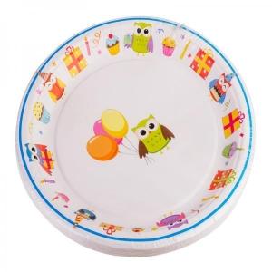 Smile Paper plates 22cm, 12 pcs, Owl