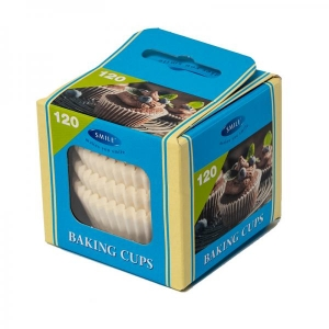 Smile baking cups 120 pcs, white, in box
