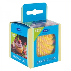 Smile baking cups 120 pcs, yellow, in box