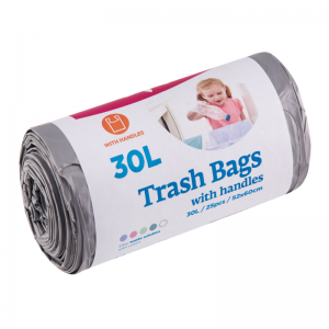 McLean trash bags with handles, 30l, 25pcs, grey