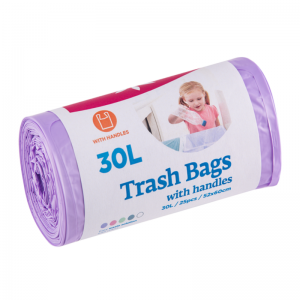 McLean trash bags with handles, 30l, 25pcs, purple