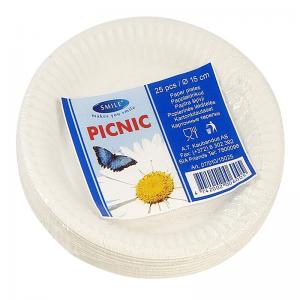 Smile Paper plates 15cm, 25 pcs