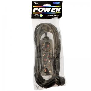 Power Pik.juhe 5,0m 3 pesa must 1,5mm