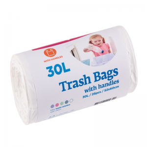 McLean trash bags with handles, 30l, 25pcs, white