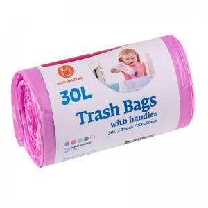 McLean Мусорный мешок с завязками, 30л, 25шт, розовый