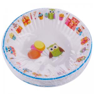 Smile Бумажные глубокие тарелки, совы, 16 см, 12 шт