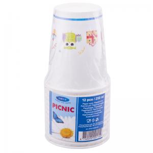 Smile Paper cups 250ml, 12 pcs, Owl