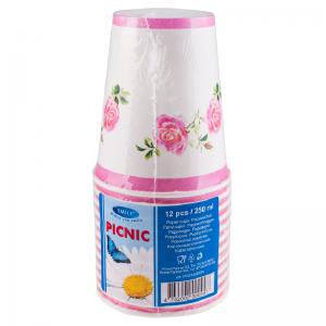Smile Пластиковые стаканчики 250мл, розовые, 12 шт