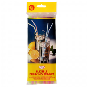 Elise Flexible drinking straws 40 pcs, neon colors