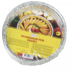 Elise Round aluminium foil dishes, Ø23cm, 4pcs