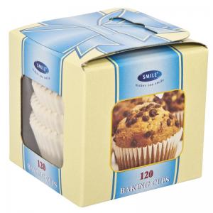 Smile baking cups 120 pcs, white, in box