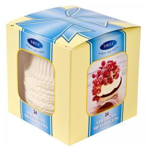 Smile Ameerika muffinivormid, 24 tk, valged, karbis