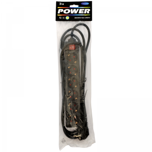 Extension cord 3,0m 6 sockets+switch, black