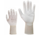 McLean White elastic nylon work gloves, palm covered with  polyurethane, in the plastic bag with hanger, L